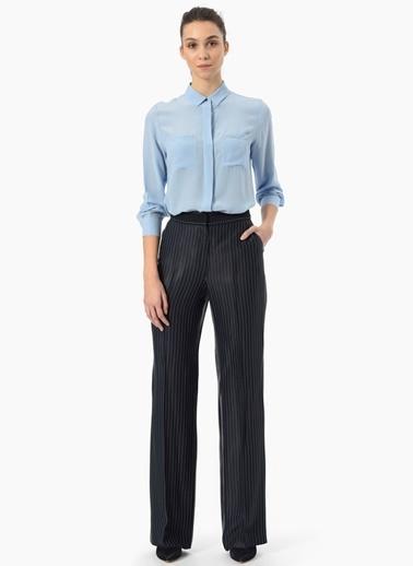 NetWork Uzun Kollu İpek Gömlek Mavi